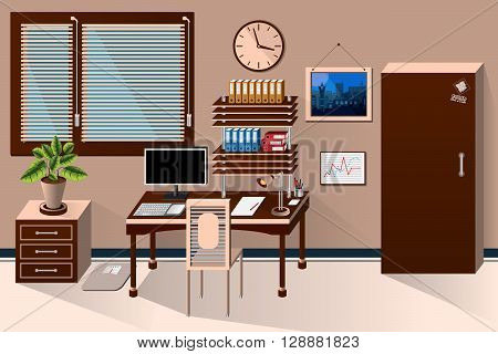 Vector Interior Office Room In Classic Style. Vector Illustration