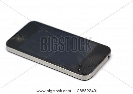 Cracked Smart Phone Isolated On White Background
