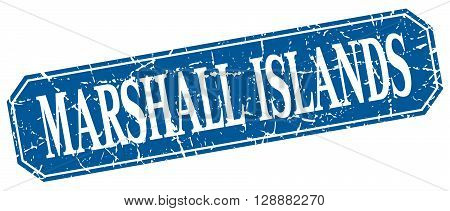 Marshall Islands blue square grunge retro style sign
