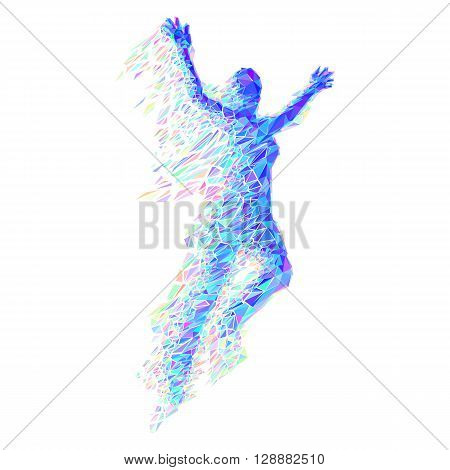Jumping Woman From Color Triangles on White
