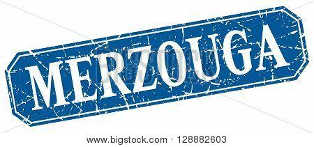 Merzouga blue square grunge retro style sign