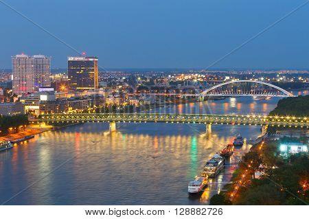 BRATISLAVA, SLOVAKIA - MAY 05, 2016: View of Bratislava and river Danube, Slovakia on May 05, 2016.