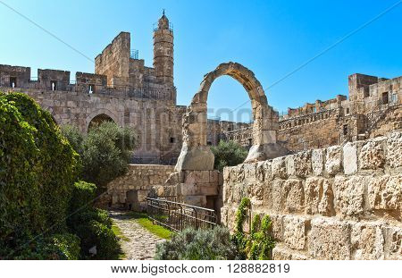 Israel Jerusalem the ruins of the Citadel and the Tower of David