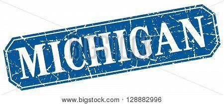 Michigan blue square grunge retro style sign