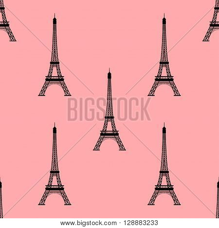 Eiffel tower, Paris, France. Seamless background. Eiffel tower monument icon repeating. Seamless pattern.
