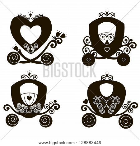 Fairytale Royal silhouette cute vintage princess carriage vector vintage girl carriage store logo Flat vector icon