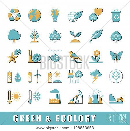 Set of flat line ecology icons. Bio alternative for pollution, prevention of global warming. Green power, nature, preservation, care, social consciousness. Vector illustration.