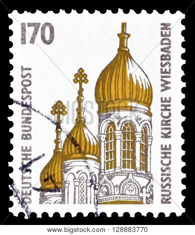 GERMANY - CIRCA 1991 : Cancelled postage stamp printed by Germany, that shows Russian Church in Wiesbaden.