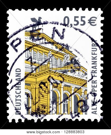 GERMANY - CIRCA 2002 : Cancelled postage stamp printed by Germany, that shows Old Opera in Frankfurt.