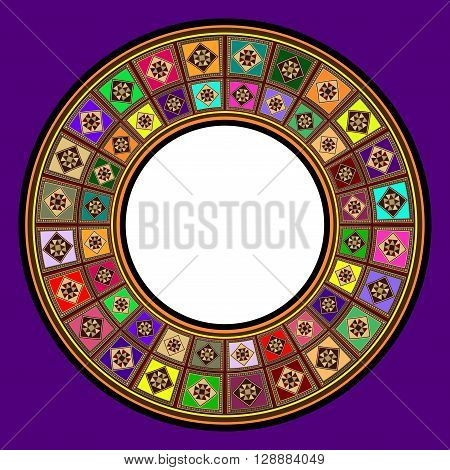 A Colorful Oriental Marquetry Circular Photo Frame