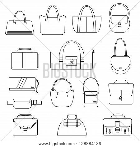 Bag, purse, handbag and suitcase simple icons set. Accessory symbols set. Vector illustration.