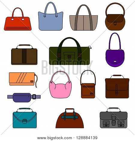 Bag, purse, handbag and suitcase simple icons set. Different colors. Isolated on white background. Vector illustration.
