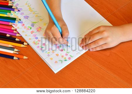 Child holds a pencil in hand and draws a meadow with flowers. A set of pencils. Children's art