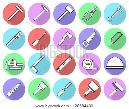 Set of flat colorful repair tool icons. Home repair pictograms. Worker tools. Vector illustration.