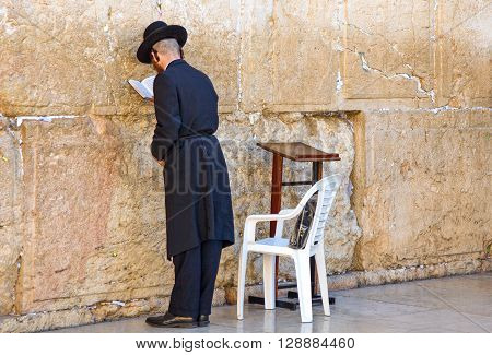 Jerusalem Israel - November 3 2010: Jewish faithfuls in prayer at the western wall