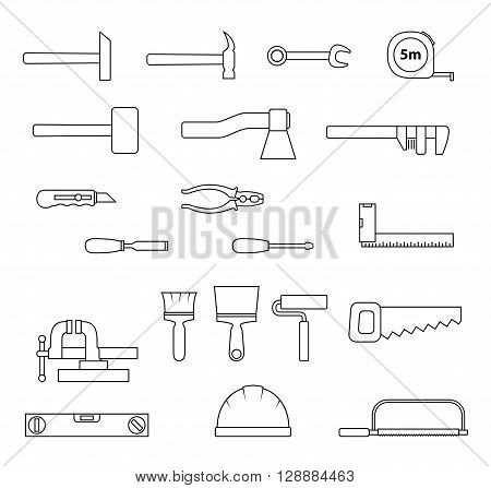 Set of flat repair tool icons. Home repair signs. Worker tools. Vector illustration.