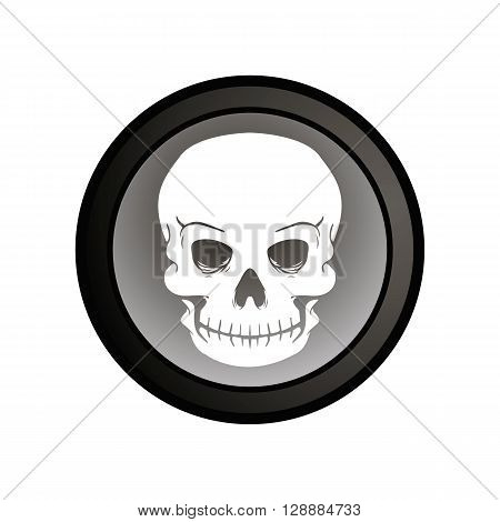 withe skull in a circle. vector illustration of a skull. The label on a bottle of poison.