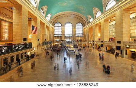 GRAND CENTRAL TERMINAL NEW YORK - APRIL 19: Interior views of the Grand Central Terminal Building on April 19 2016. Grand Central Terminal has intricate designs both on its in and outside.