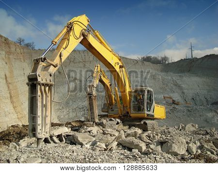 Photo of a group of hammers in the quarry