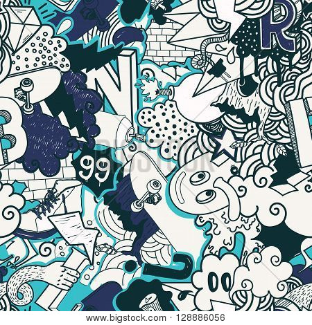 Colorful seamless pattern. Graffiti doodles street art illustration in blue colors. Composition bizarre elements and characters for skate board, street clothing, streetwear, wallpapers textile fabric