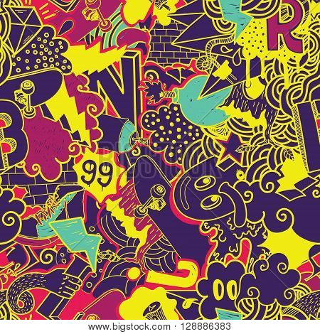 Colorful seamless pattern. Graffiti doodles street art illustration in yellow, purple Composition bizarre elements and characters for skate board, street clothing streetwear wallpapers textile fabric