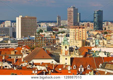 BRATISLAVA, SLOVAKIA - MAY 06, 2016: Bratislava as seen from the castle hill on May 06, 2016.