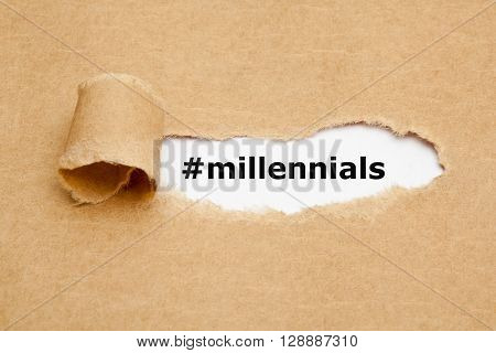 Hashtag Millennials appearing behind torn brown paper. Millennials also known as Generation Y are the demographic cohort following Generation X.