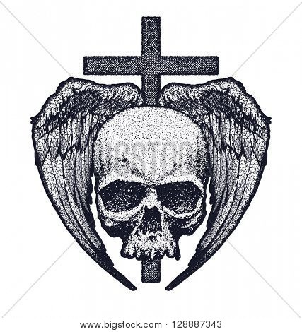 Skull with wings and crest. Vector illustration. Element for your design. Hand drawn.