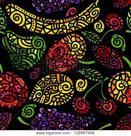 Etnic seamless pattern with stylized colored fruits. Vector illustration