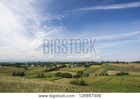 Rural summer landscape: small village and green fields.