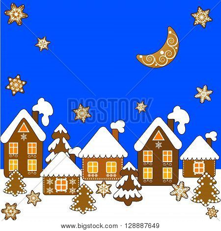 Christmas background with gingerbread houses, Christmas trees, snowflakes and moon