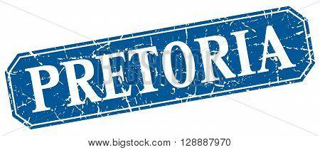 Pretoria blue square grunge retro style sign