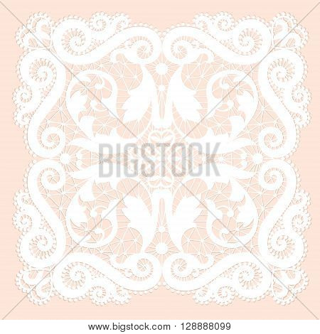 White lacy doily with flowery pattern on a pink background