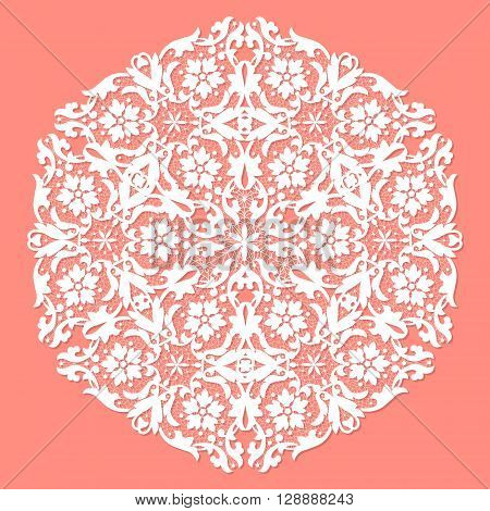 White openwork lace doily on a pink background