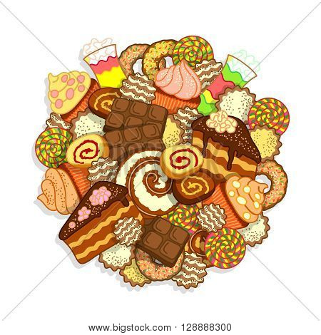 Big pile of different sweets and confectionery on a white background