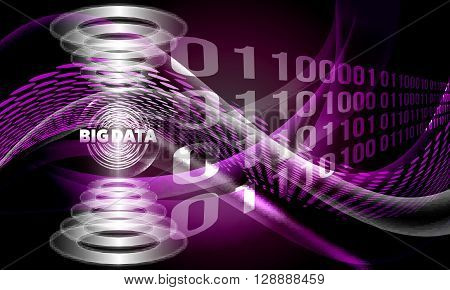 Vector abstract background with lines and waves and big data icon