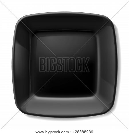 Black square plate with rounded corners isolated on white background
