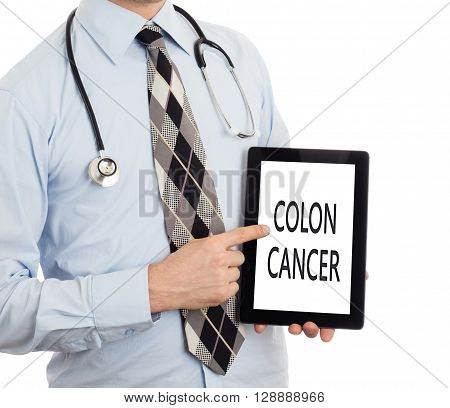 Doctor Holding Tablet - Colon Cancer