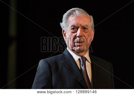 Buenos Aires Argentina - May 6 2016: Nobel Laureate in Literature Mario Vargas Llosa during the presentation of his book Cinco esquinas as part of Buenos Aires International Book Fair at La Rural on May 06 2016 in Buenos Aires Argentina.