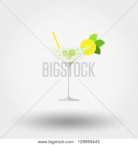 Martini cocktail glasses with different decorations on a white background. Icon for web and mobile application. Vector illustration on a white background. Flat design style.