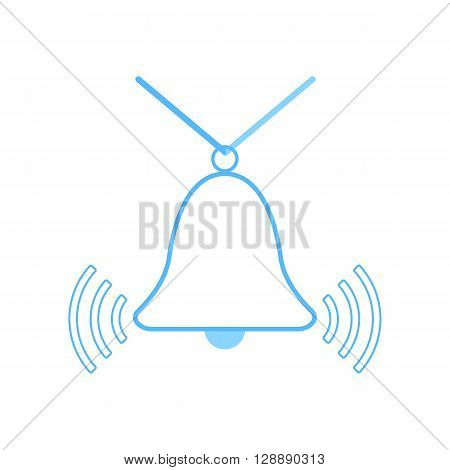 outline blue bell icon. concept of wake up service, siren, campanula, protection. isolated on white background. flat style trendy modern logo design vector illustration