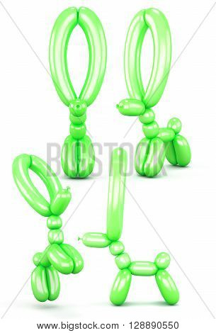 Set of animal figures out of balloons isolated on white background. Different view. Animal with long ears. Green animal balloons. 3d render image