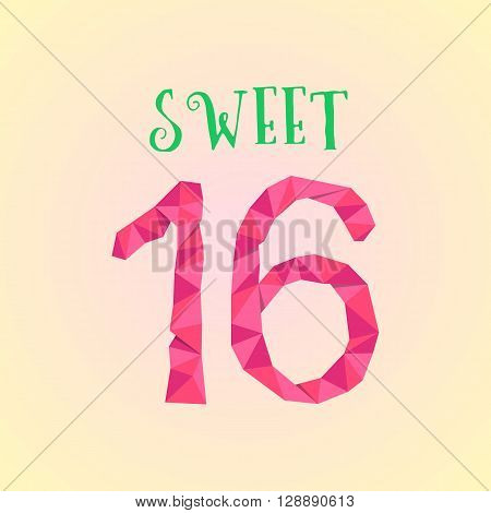 sweet sixteen with polygonal number. concept of birthday celebration, majority, adulthood, sixteenth postcard. isolated on cream background. lowpoly style trendy modern logo design vector illustration