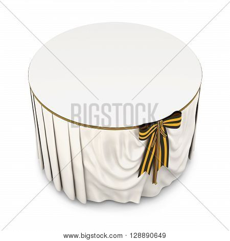 Round table with tablecloth and bow on a white background.  White tablecloth . Bow color of victory. 3d rendering