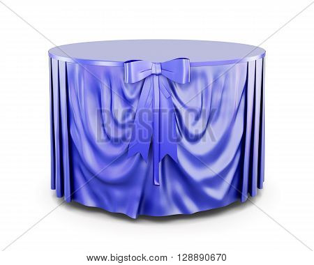 Blue tablecloth on round table isolated on white background. With bow. Blue bow. Front view. 3d render image