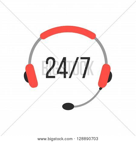 nonstop support icon with headphones. concept of consultation, e-commerce, marketing, live support, all day hotline. isolated on white background. flat style modern logo design vector illustration