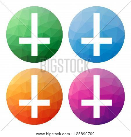 Set  Of 4 Isolated Modern Low Polygonal Buttons - Icons - For Cross Of Saint Peter, Petrine Cross