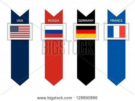 Infographic with 4 countries of ex G8 - USA Russia Germany and France with arrows in colors of their flags world leading countries great power sovereign state