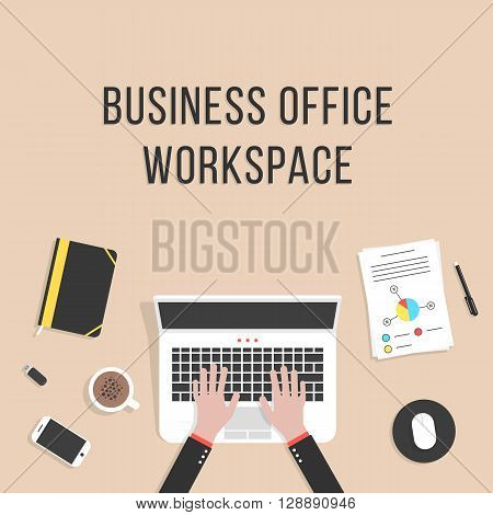 business office workspace with laptop. concept of teamwork, audit, coworking center, freelancer, distant work, planning, mock up, consulting. flat style trendy modern design eps10 vector illustration