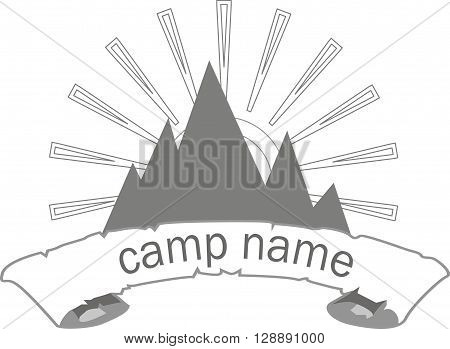camp logo, vector, illustration, camp, logo, eps, jpeg, sun, on white shape, rays, object isolation, gray, hills, mountain, alpine, hiking, backpacking, recreation, sports, vacation, travel
